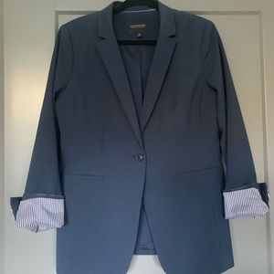 Navy Long and lean fit washable wool blend blazer